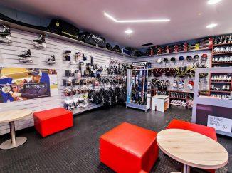 Interiér hokejovej predajne