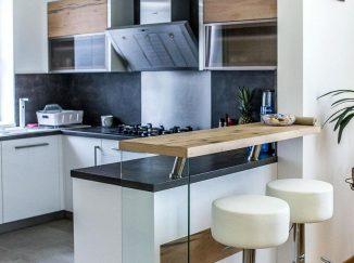 Barový jedálenský pult v modernej kuchyni