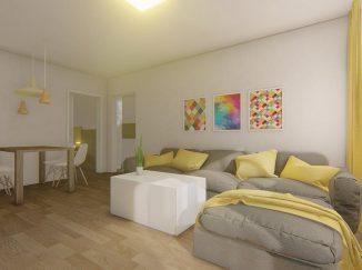 3D vizualizácia moderný interiér obývačka