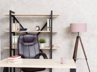 vizualizácia interiéru drevený pracovný stôl