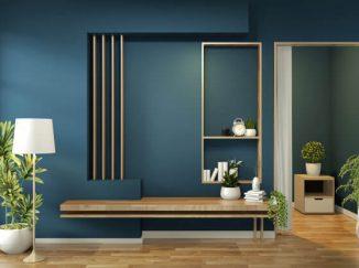 vizualizácia interiéru v kombinácií s tmavou modrou