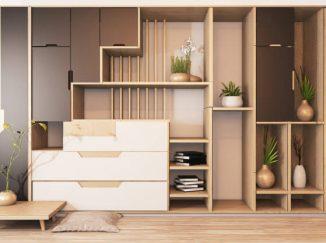 vizualizácia interiéru drevené poličky