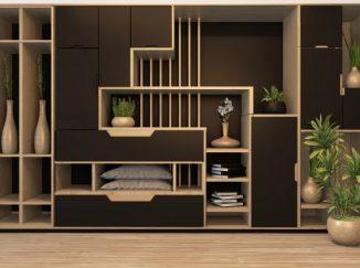 vizualizácia interiéru tmavé drevené poličky
