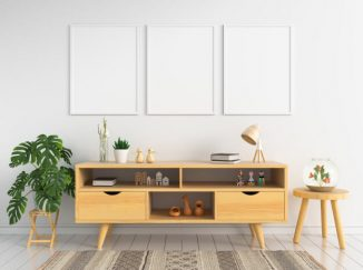 vizualizácia interiéru s dreveným nábytkom