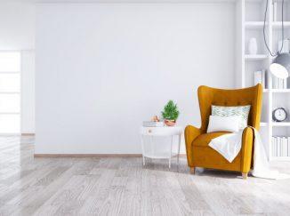 vizualizácia interiéru so žltým akcentom