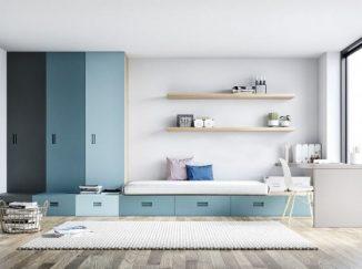 vizualizácia detskej izby v modrých odtieňoch