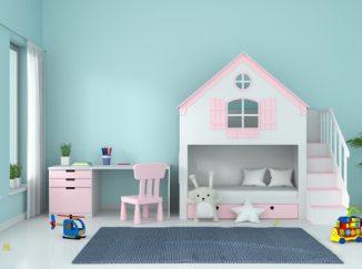 vizualizácia detskej izby v ružovej farbe v kombinácií s tyrkysovou