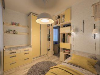 vizualizácia detskej izby v odtieňoch žltej