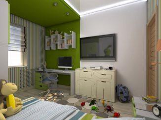 vizualizácia detskej izby v zelenej farbe