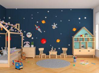 vizualizácia detskej izby s vesmírnym motívom