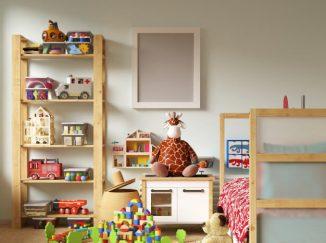 vizualizácia detskej izby s dreveným nábytkom