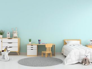 vizualizácia detskej izby s modrou stenou