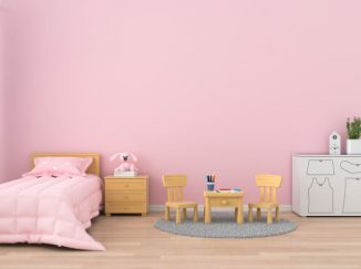 vizualizácia detskej izby v ružových odtieňoch
