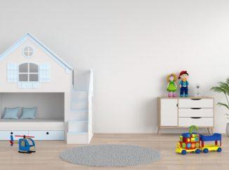 vizualizácia detskej izby s domčekom