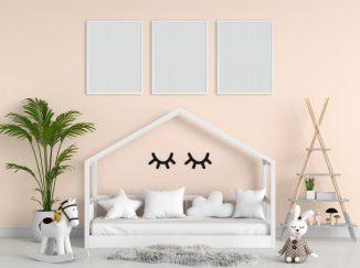 vizualizácia detskej izby v marhuľovej farbe