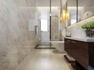 vizualizácia modernej kúpelne s drevenými skrinkami