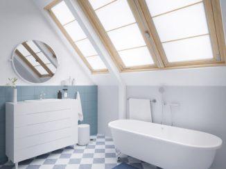 vizualizácia kúpelne so stešným oknom