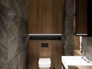 vizualizácia kúpelne v drevenom prevedení s kameňom