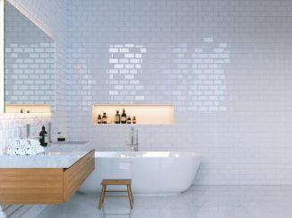 vizualizácia bielej kúpelne s drevom