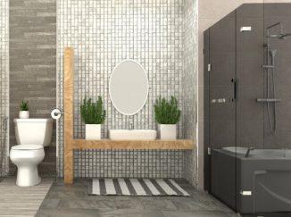 vizualizácia kúpelne v sivej farbe