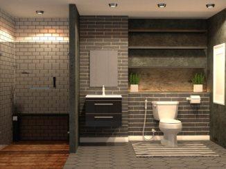 vizualizácia kúpelne v tmavých odtieňoch