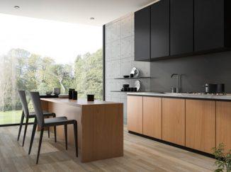vizualizácia kuchyne s hnedo-čiernym drevom