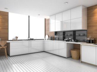 vizualizácia kuchyne s bielou kuchynskou linkou