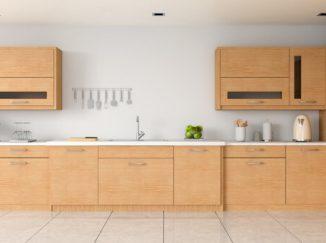 vizualizácia kuchyne s drevenými skrinkami