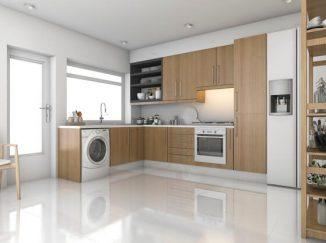 vizualizácia kuchyne s práčkou