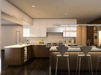 vizualizácia kuchyne s dominantným dreveným nábytkom