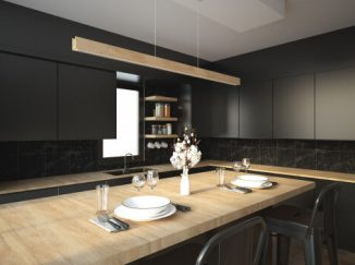 vizualizácia kuchyne v tmavých odtieňoch