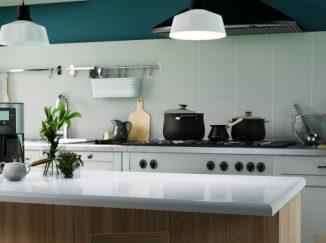 vizualizácia kuchyne so zeleným akcentom