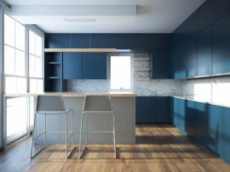 vizualizácia kuchyne s modrým akcentom