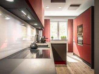 vizualizácia kuchyne s červeným akcentom