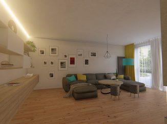 3D vizualizácia moderná obývačka