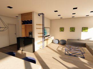 3D vizualizácia moderný biely interiér s drevom obývačka s kuchyňou