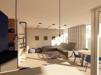 3D vizualizácia moderný biely interiér s drevom obývačka
