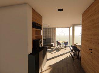 3D vizualizácia moderný biely interiér s drevom chodba