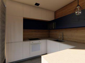 3D vizualizácia moderný biely interiér s drevom kuchyňa