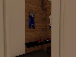 3D vizualizácia moderný biely interiér s drevom predsieň