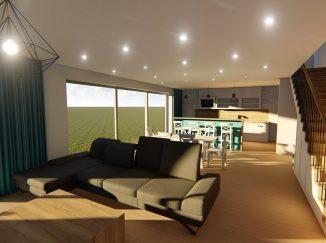3D vizualizácia moderný interiér s vidieckou kuchyňou