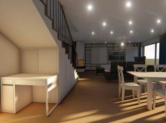 3D vizualizácia moderný interiér schody