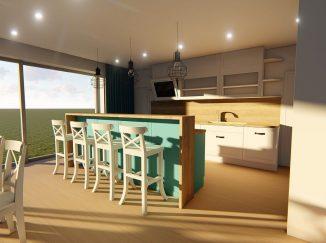 3D vizualizácia vidiecka kuchyňa