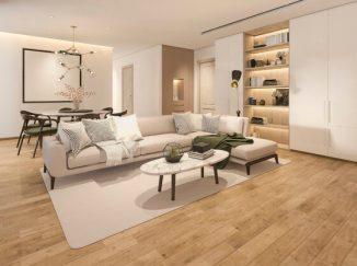 vizualizácia obývačky v svetlých odtieňoch