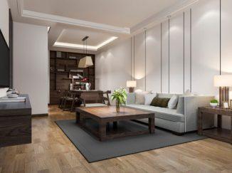 vizualizácia obývačky v kombinácií svetlo-tmavej farby