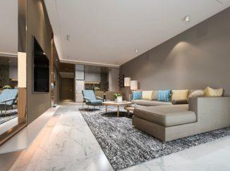 vizualizácia obývačky so sivou stenou