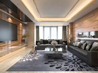 vizualizácia obývačky s fialovým akcentom