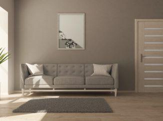 Moderný návrh vizualizácie obývačky v sivom prevedení