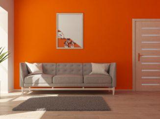 Moderný návrh vizualizácie obývačky v oranžovom prevedení
