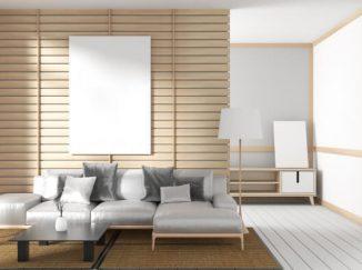 vizualizácia obývačky so svetlým drevom